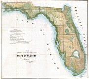 Wall Chart Photos - 1848 Land Survey Map of Florida by Paul Fearn