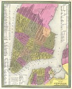 World Of Thought Metal Prints - 1848 Mitchell Map of New York City Metal Print by Paul Fearn