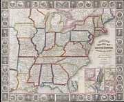 M Court Posters - 1848 Phelps National Map of the United States Poster by Paul Fearn