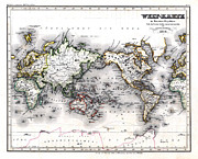 Old Map Framed Prints - 1850 Antique World Map Welt Karte in Mercators Projektion Framed Print by Karon Melillo DeVega