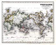 1850 Antique World Map Welt Karte In Mercators Projektion Print by Karon Melillo DeVega