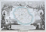 The Tourist Trade Posters - 1850 Levasseur Map of Ile de La Reunion Poster by Paul Fearn