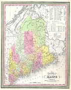 The World Population Prints - 1850 Mitchell Map of Maine Print by Paul Fearn