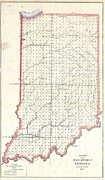 Indiana Rivers Prints - 1850 Public Survey Map of Indiana Print by Paul Fearn