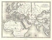 Northern Africa Framed Prints - 1850s Map of the World of the Biblical Noah Framed Print by Paul Fearn