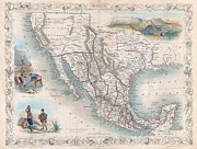 The Great Salt Lake Posters - 1851 Tallis Map of Mexico Texas and California  Poster by Paul Fearn