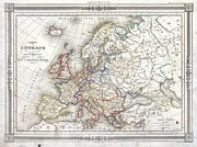 Barbie 3 Posters - 1852 Barbie du Bocage Map of Europe Poster by Paul Fearn