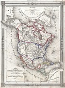 The Great Salt Lake Framed Prints - 1852 Bocage Map of North America Framed Print by Paul Fearn