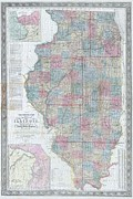 M Court Posters - 1852 Colton Sectional Pocket Map of Illinois Poster by Paul Fearn