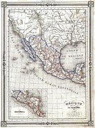 The Great Salt Lake Framed Prints - 1852 Duvotenay Map of Mexico Framed Print by Paul Fearn