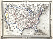 Arkansas State Map Prints - 1852 Duvotenay Map of the United States Print by Paul Fearn