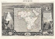 La Vague Posters - 1852 Levasseur Map of Africa Poster by Paul Fearn