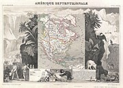 The World Population Prints - 1852 Levasseur Map of North America  Print by Paul Fearn