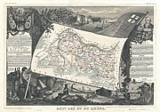 Syrah Posters - 1852 Levasseur Map of the Department Bes Du Rhone Poster by Paul Fearn