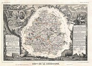 De Wine And Cheese Framed Prints - 1852 Levasseur Map of the Department de La Dordogne Framed Print by Paul Fearn