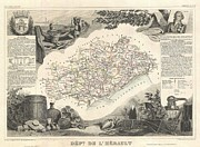 De Wine And Cheese Framed Prints - 1852 Levasseur Map of the Department de LHerault France Framed Print by Paul Fearn