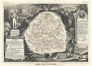 De Wine And Cheese Framed Prints - 1852 Levasseur Map of the Department de LIndre France Framed Print by Paul Fearn