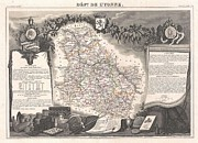 De Wine And Cheese Framed Prints - 1852 Levasseur Map of the Department De LYonne  Framed Print by Paul Fearn