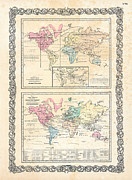 Old Map Photo Posters - 1855 Antique First Plate Ortelius World Map Animal Kingdom World Commerce and Navigation Poster by Karon Melillo DeVega