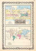 Old Map Photo Metal Prints - 1855 Antique World Maps Illustrating Principal Features of Meteorology Rain and Principal Plants Metal Print by Karon Melillo DeVega
