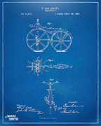 Den Posters - 1866 Velocipede Bicycle Patent Blueprint Poster by Nikki Marie Smith