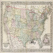 Vintage Map Photos - 1867 Map Of America by Florene Welebny