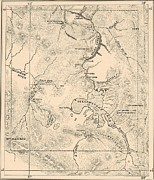 Vintage Map Digital Art - 1872 Map of Yellowstone National Park by Antique Engravings