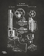 1875 Colt Peacemaker Revolver Patent Artwork - Gray Print by Nikki Marie Smith