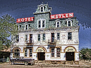 Old Town Digital Art Acrylic Prints - 1875 Metlen Railroad Hotel - Dillon Montana Acrylic Print by Daniel Hagerman
