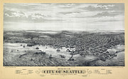 Seattle Mariners Framed Prints - 1878 Seattle Washington Map Framed Print by Daniel Hagerman