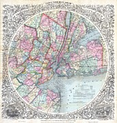 M Court Prints - 1879 Colton Map of New York City Print by Paul Fearn