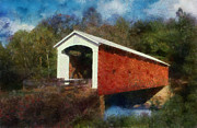 Covered Bridge Painting Metal Prints - 1879 GreggMill Bridge N Fallsburg Ohio Metal Print by Scott B Bennett