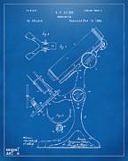 1886 Microscope Patent Artwork - Blueprint Print by Nikki Marie Smith