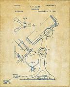 1886 Microscope Patent Artwork - Vintage Print by Nikki Marie Smith