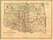 Indian Territory Posters - 1887 Oklahoma Map Poster by Digital Reproductions
