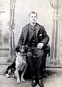 Owner Prints - 1890 Gentleman and his Dog Print by Historic Image
