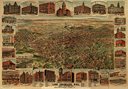 Angles Framed Prints - 1891 Los Angeles California Vintage Map Framed Print by Edward Fielding