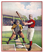 Baseball Bat Metal Prints - 1895 Batter Up At Home Plate Metal Print by Daniel Hagerman