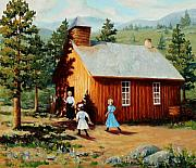 School Marm Paintings - 1896 School house by Mary Giacomini
