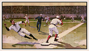 Baseball Bat Metal Prints - 1898 Baseball -  American Pastime  Metal Print by Daniel Hagerman