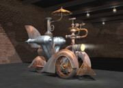 Boiler Digital Art - 1898 Steam Scooter by Stuart Swartz