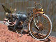 Weathered Digital Art Prints - 1899 Inline Steam Trike Print by Stuart Swartz