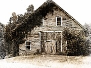 Split Rail Fence Prints - 18th Century Barn Print by Marcia Lee Jones