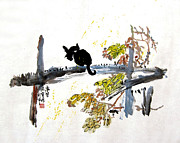 Tree Plantation Drawings - 19-Cat on Tree by Clement Tsang