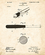 Baseball Bat Digital Art Metal Prints - 1902 Baseball Bat Patent Metal Print by Digital Reproductions