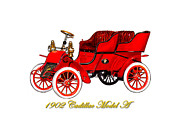 Cylinder Posters - 1902 Cadillac Model A Runabout Poster by Jack Pumphrey