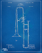Trombone Posters - 1902 Slide Trombone Patent Blueprint Poster by Nikki Marie Smith