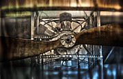 Airplane Engine Photos - 1909 BIPLANE ENGINE and PROPELLER by Daniel Hagerman