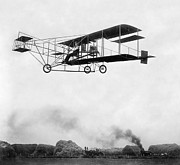 Bi Planes Framed Prints - 1909 ERA of TECHNOLOGY - AEROPLANE and STEAM ENGINE Framed Print by Daniel Hagerman