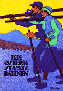 Cross-country Skiing Paintings - 1910 Austrian Ski Poster by Historic Image